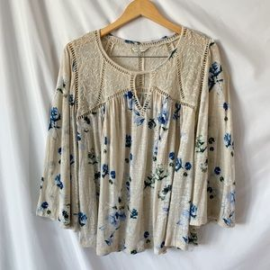 Lucky Brand Yoke Floral Peasant Lace Linen Top L
